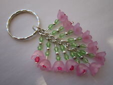 Keyring / Bag Charm - Bunch of Cherry Blossom  - Pink Lucite Flowers