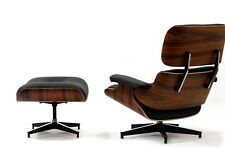 eBB Mid Century Lounge Chair replica and Ottoman BLACK Leather Palisander Wood