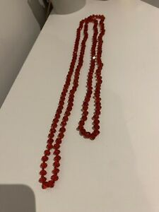 Red crystal beads necklace