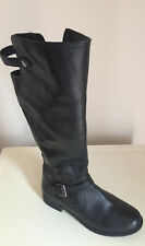 LADIES WOMENS KNEE HIGH BLACK LEATHER BOOTS  SIZE 6 MATALAND