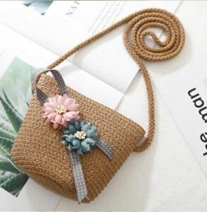 Children Shoulder Bag Flowers Straw Messenger Bag Kids coin Purse Mini Handbag