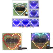 Diy Kit Heart Shaped Led Red Blue Colorful Light Water Electronic Suite Set Gift