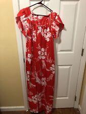 Hilo Hattie Size Medium Red Hawaiian Maxi Dress Caftan Muu Muu VTG
