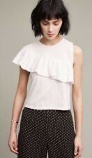 NWT Anthropologie Ruffled Asymmetry White Shell Top Blouse NEW XL