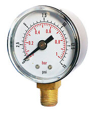 Pressure Gauge 0/15 PSI & 0/1 Bar 50mm Dial 1/4 BSPT Bottom connection.