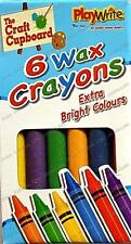Set of 6 Wax Crayons in red, yellow, green, blue, purple and orange