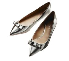 Coach Wilma Silver Patent Leather Flats Shoes Sz 6 NEW $198