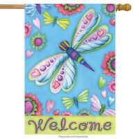"""Dragonflies and Flowers Spring House Flag Welcome Primitive Floral 28"""" x 40"""""""