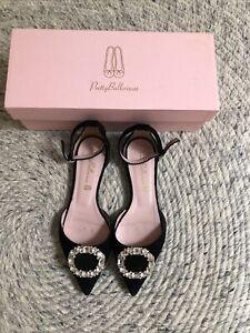 Pretty Ballerinas Black Suede Swarovski Buckle Flats shoes Eu 37 Uk 4
