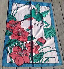 "Lg Humming Bird Garden Yard Flag Blue Boarder, Red Flowers Green Bird  41""X 29"""