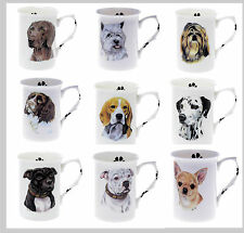 Personalised WITH ANY NAME BONE CHINA BEAKER MUG CUP Choice of dog breeds (R-Z)