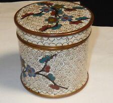 OLD CLOISONNE ENAMEL FLORAL JAR CANISTER HUMIDOR BOX