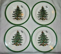 "4 SPODE CHRISTMAS TREE BREAD & BUTTER PLATES 6.5"" S3324 V MADE IN ENGLAND EUC"