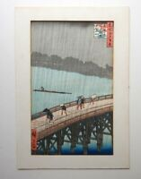 OLD JAPANESE HAND COLOURED WOODBLOCK - SIGNED & TITLED   P208