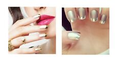 GOLD or SILVER Metallic French Styled False Nails Full Cover FMG-091/FMS-017