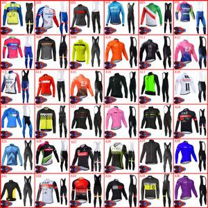Team Cycling Jersey Set Mens Long Sleeve Shirts Bib Pants Kit Racing Outfits