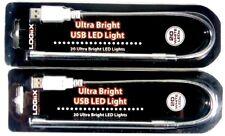 Logiix USB 20 White LED Lights for PC Notebook Laptop Keyboard Reading 2 Pcs NEW
