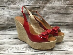 Kate Spade Red Patent Leather Bow Espadrille Braided Rope Wedge Size 9 Spain