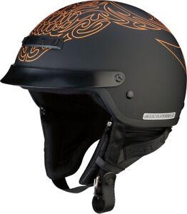 Z1R Nomad Tribal Half Helmet Lg Black/Orange 0103-1157