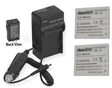 2 Batteries + Charger for Sanyo VPC-E2 VPC-E2W VPC-E6 VPC-E6EX VPC-E6U VPC-E60EX