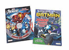 NEW Set of 2 Batman and The Avengers Kids Coloring Book and Activity Books Set