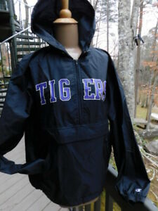 CLEMSON purple TIGERS black PULLOVER poly RAIN weather GEAR JACKET hoodie TOP S/
