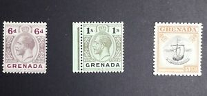 BRITISH EMPIRE GRENADA KING GEORGE V MINT STAMPS.VERY GOOD CONDITION.  HIGH CAT.