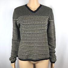 Vtg Sweater Polo Jeans Co Ralph Lauren Womens Wool Vneck Tan Black Striped Sz L