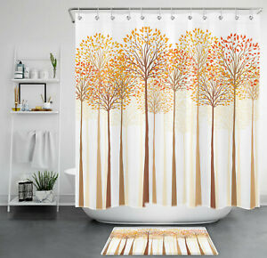 """Misty Forest Autumn Tree Yellow Leaf Waterproof Fabric Shower Curtain Set 72"""""""