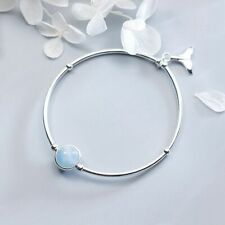 Ladies Bracelet Fish Tail Sky Blue Natural Aquamarine Stone Silver 925 7 1/8in