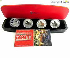 2010 YEAR OF THE TIGER TYPESET LUNAR Four 1oz  Silver Coin Set