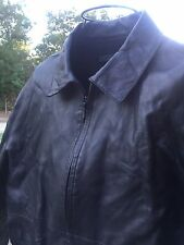 DKNY BLACK LEATHER JACKET COAT Size L Large Zipper Front Long Sleeve Smart