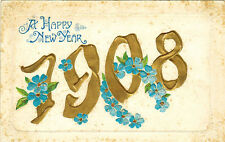 1908 New Year Embossed postcard English Language Greetings, published in Germany