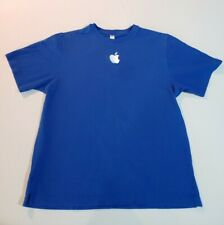 Apple Store Retail Employee T Shirt M Medium Blue Mac Embroidered Logo
