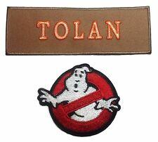 Ghostbusters Tolan Tan Name Tag with No Ghost Iron On Patch Set of 2