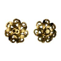 Vintage Monet Clip On Flower Earrings Gold Tone Floral Textured Scroll