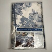 "Fallani & Cohn Tablecloth - Oval 60x84"" - Floral Blue White - New"