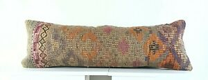 Lumbar Pillow Cover 12x36 Handknotted Kilim Rug Boho Wool Vintage Cushion A1099