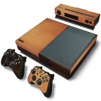 Wood Grain Style Vinyl Sticker Skin Set For XBOX ONE Console+2 Controllers skins
