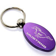 Ford Mustang Pony Key Chain - Purple Aluminum Metal Logo Chrome Ring