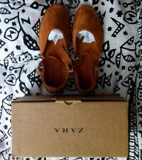 Zara girl'S Bronceado De Cuero Y Gamuza bailarina Mary Jane Zapatos Talla EUR 32 UK 13/13.5