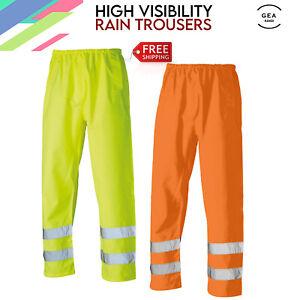 High Vis Waterproof Rain Over Trouser Safety Workwear Elasticated Pants HV306