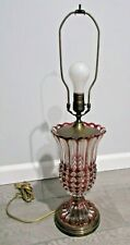 Vintage Bohemian Czech Ruby Red Crystal Glass Lamp