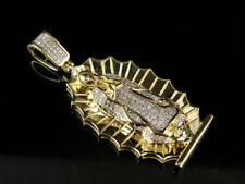 "10K Yellow Gold Lady of Guadalupe Genuine Diamond Charm Pendant .60ct 1.6"""