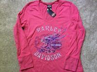 Harley Davidson Loud Wings V Neck Long Sleeve Shirt NWT Women's XXL