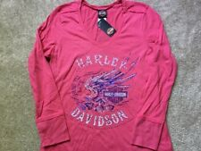 Harley Davidson Loud Wings V Neck Long Sleeve Shirt NWT Women's large
