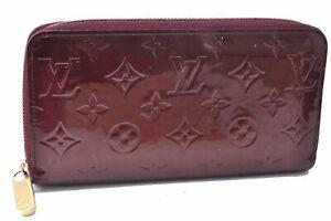Auth Louis Vuitton Vernis Zippy Wallet Purse Wallet Bordeaux Purple LV C5054