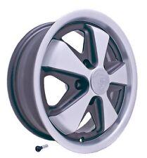 Porsche FUCH WHEEL MATTE SILVER/BLACK ,W/FREE CHROME VALVE STEM, 911, 912