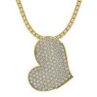 Heart Pendant Necklace Round Cut Diamond I1 G 1.00 Ct 14K Yellow Gold 0.85 Inch