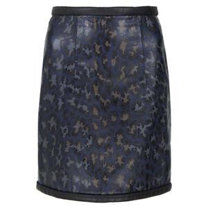 Christopher Kane Black Navy Blue Leather Leopard Mini Skirt UK6 IT38